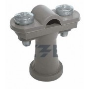 Держатель проводника круглого 6-10 мм серый, высота 38 мм, пластик
